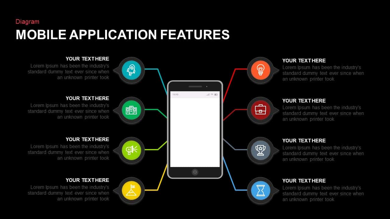 Mobile Application Features PowerPoint and Keynote Slides