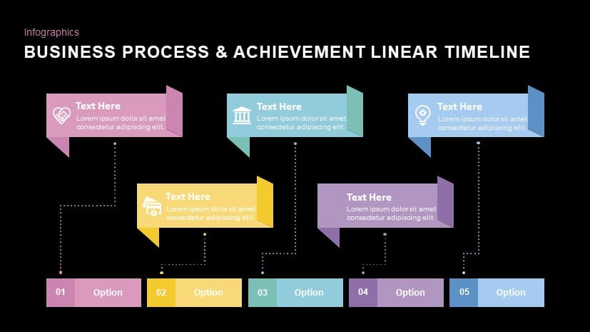 Business process & achievement linear timeline powerpoint template and keynote