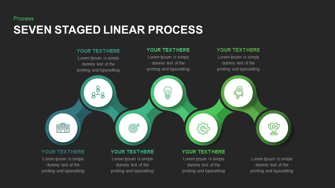 5 Staged Linear Process Diagram PowerPoint Template