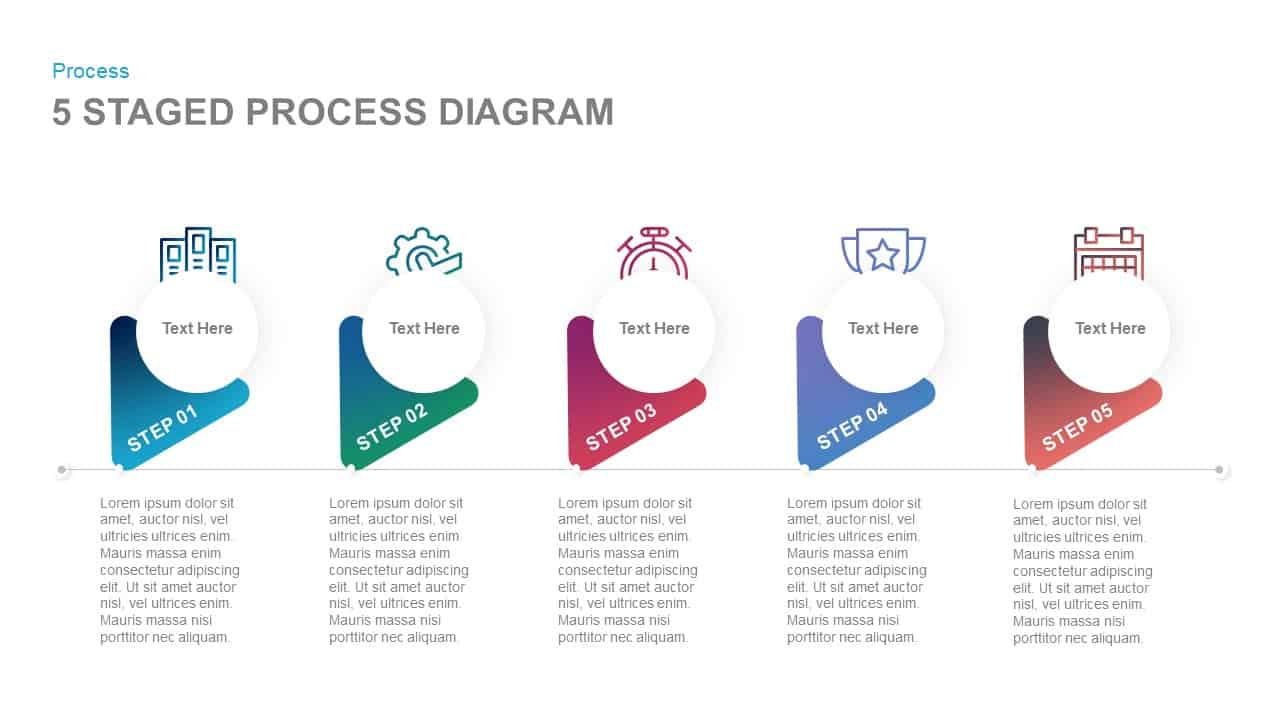 5 staged process diagram powerpoint template and keynote slide