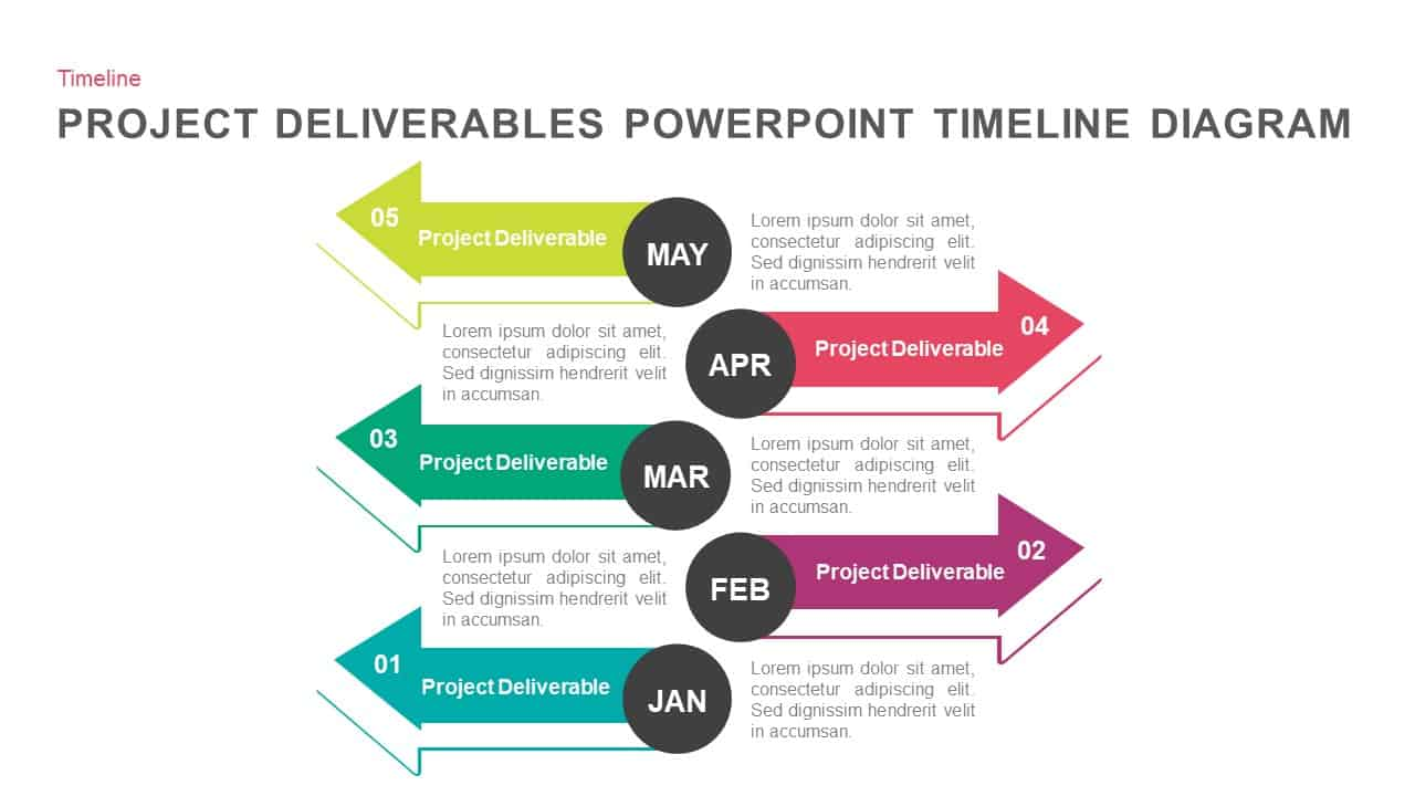 Project deliverables timeline diagram template for PowerPoint and keynote