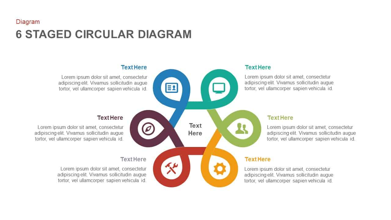 6 stage circular diagram powerpoint template and keynote
