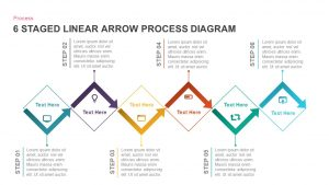6 Staged Linear Process Diagram Arrow PowerPoint Template and Keynote Slide