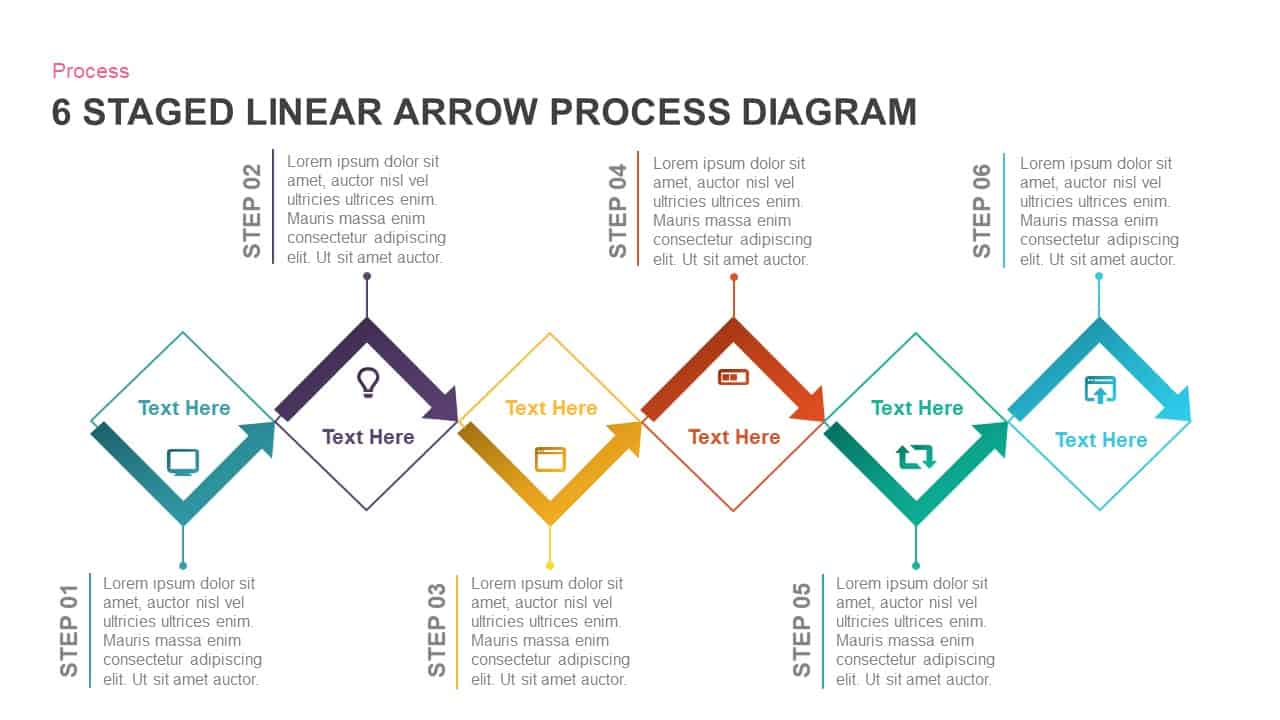 6 staged linear process diagram arrow PowerPoint template