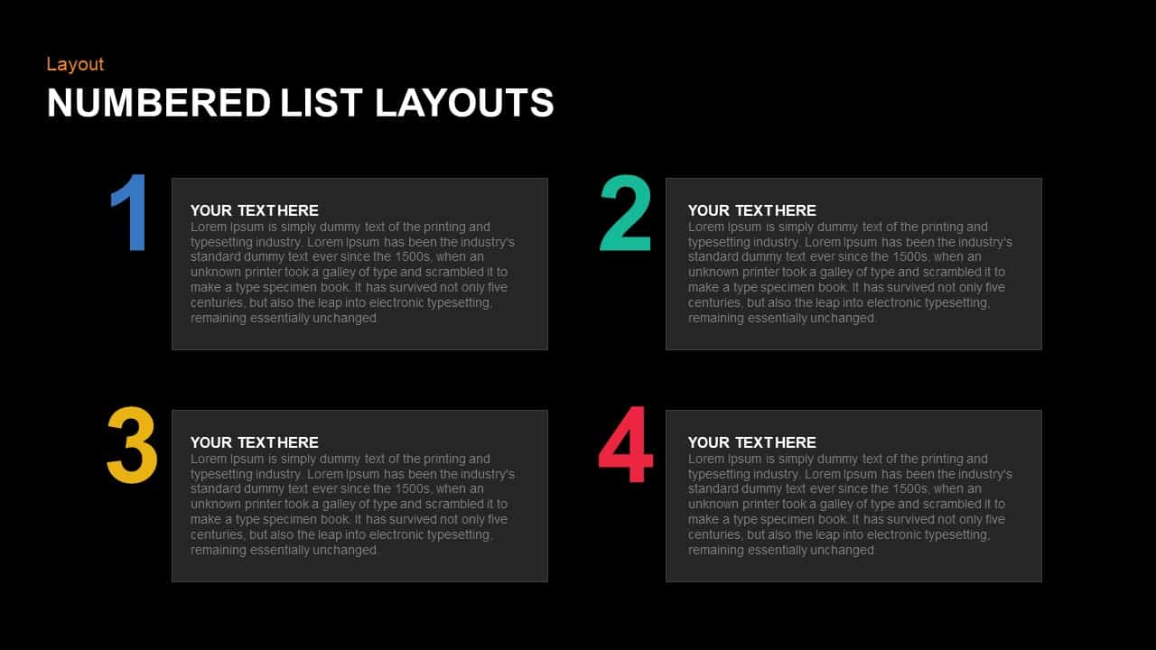 Numbered List Layout PowerPoint Template and Keynote