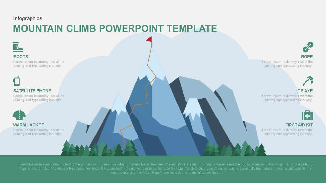 Mountain climbing powerpoint template and Keynote
