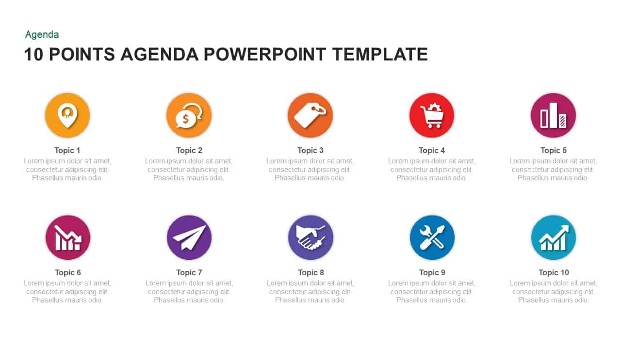 10 Point Agenda PowerPoint Template and Keynote