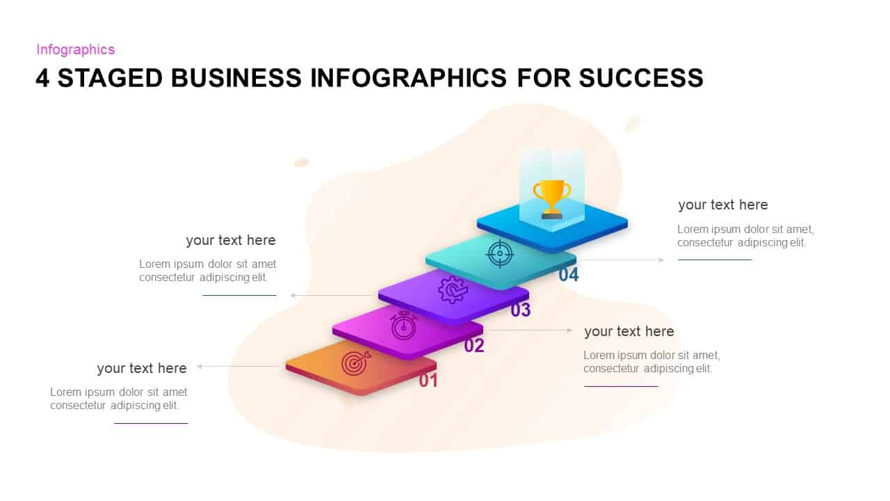 4 Staged Business Infographics For Success PowerPoint Template