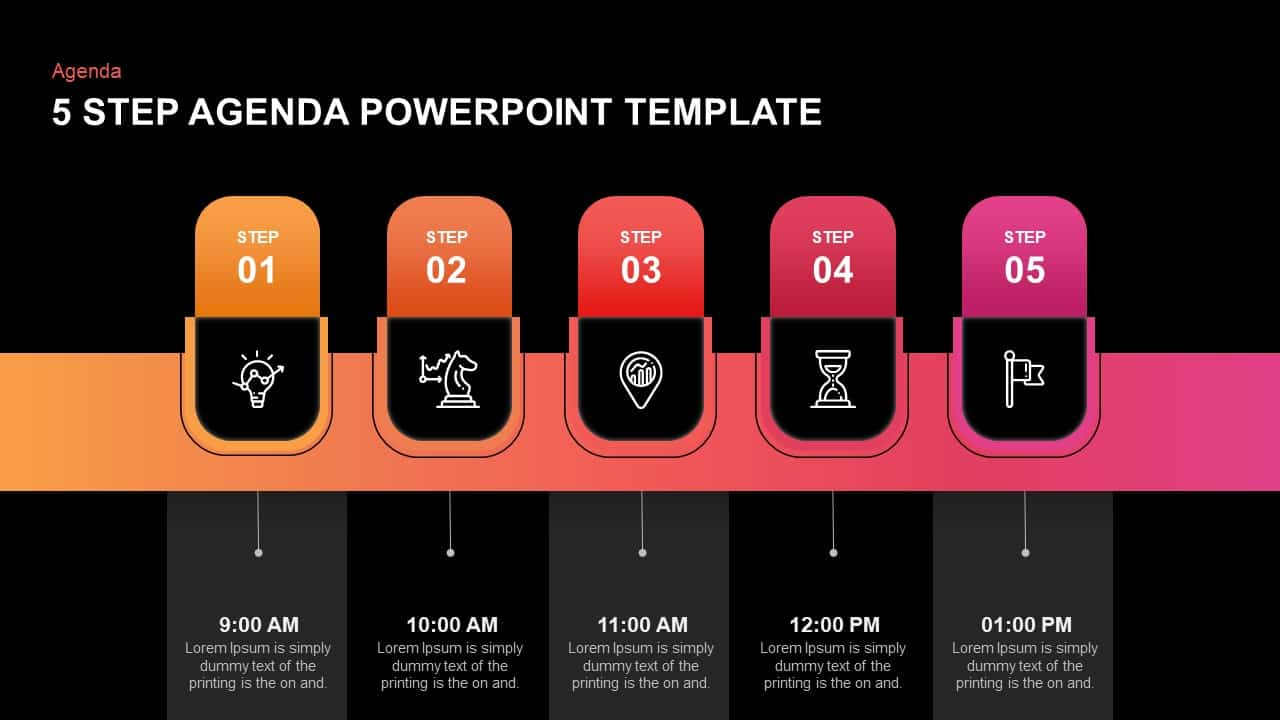 5 step agenda template for PowerPoint and keynote