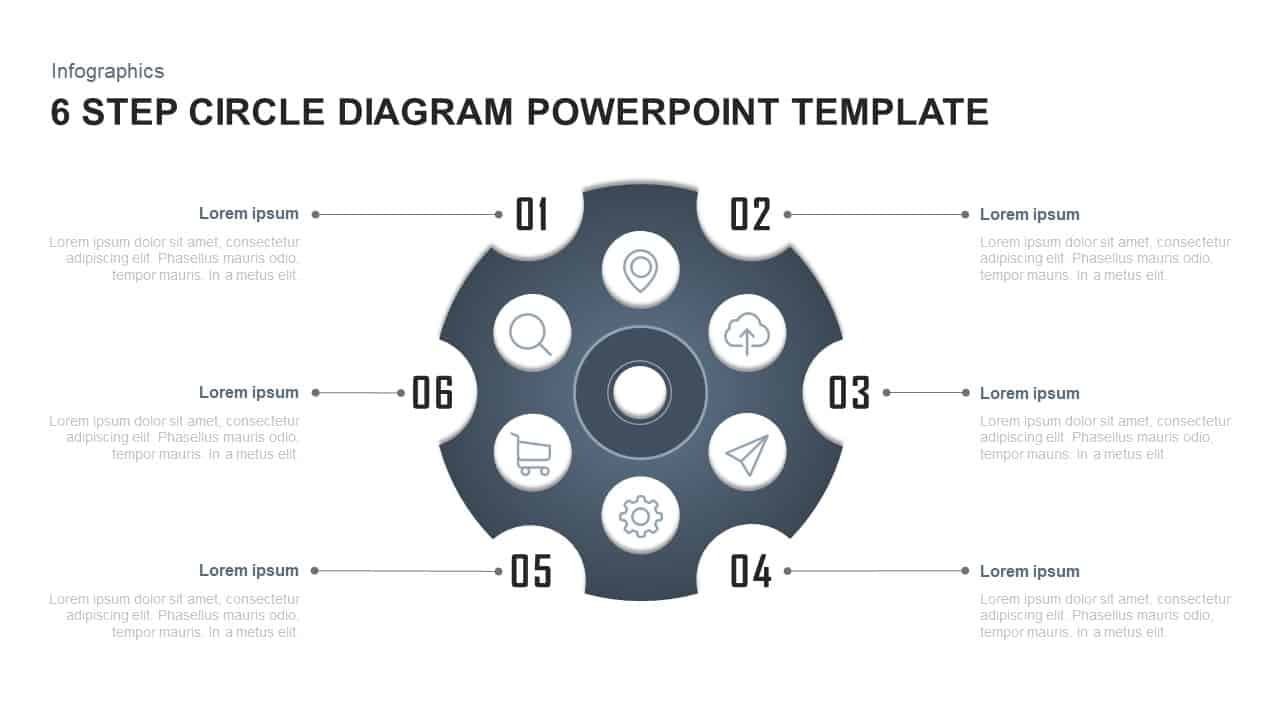 6 Steps circle diagram PowerPoint template and Keynote
