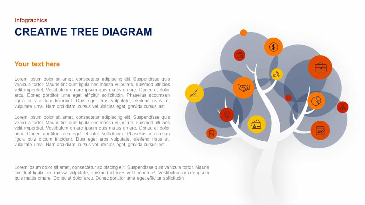 creative tree diagram template for PowerPoint presentation