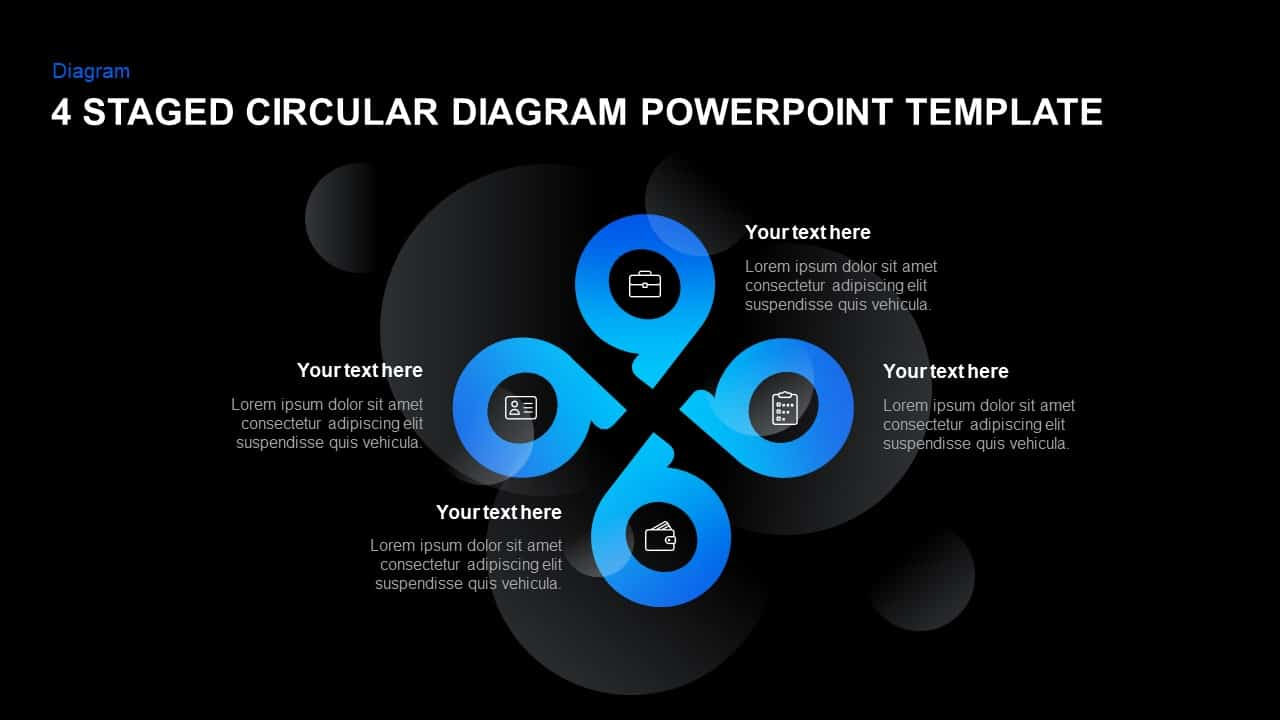 4 Step Circular Diagram PowerPoint Template and Keynote