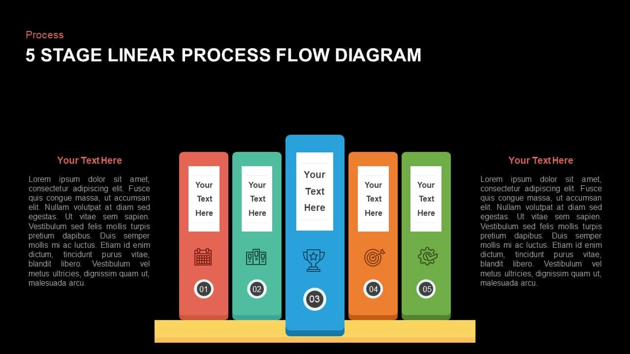 5 Steps Linear Process Flow Diagram PowerPoint Template and Keynote