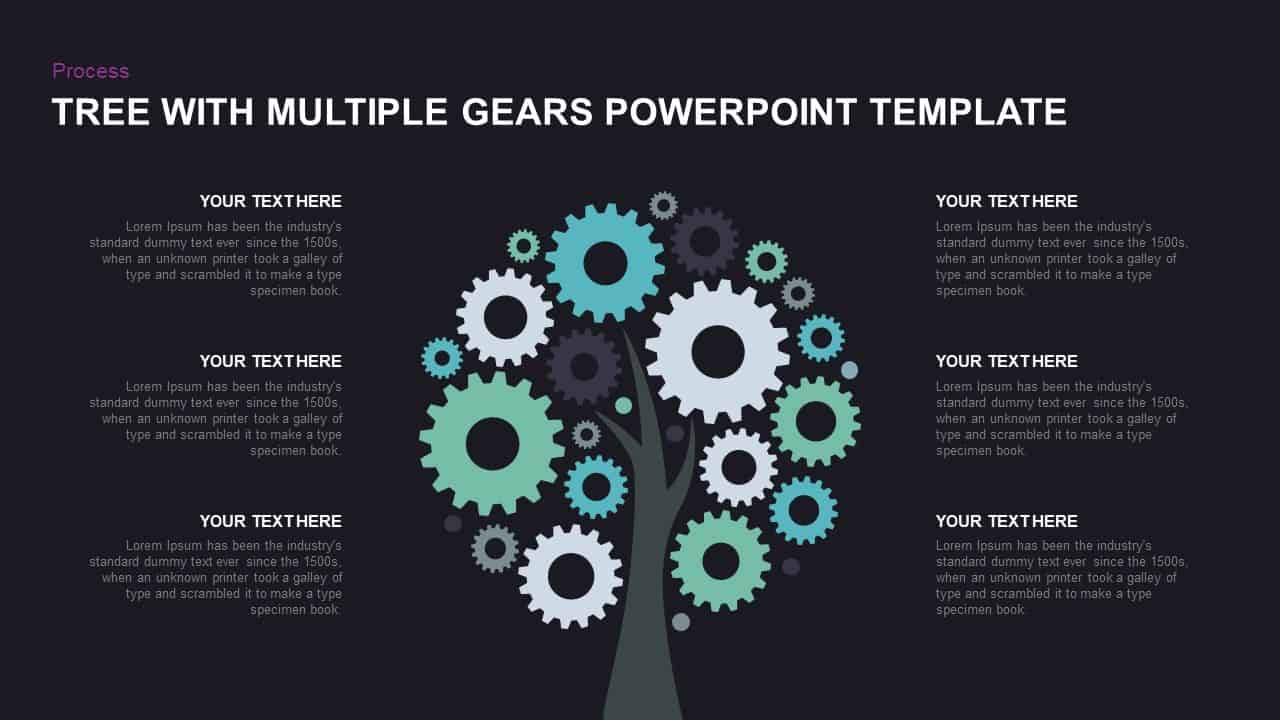 Gear tree diagram PowerPoint template and keynote