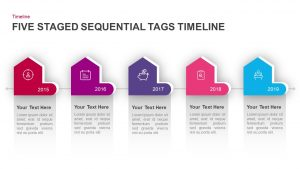 5 Staged Sequential Tags Timeline PowerPoint Template & Keynote
