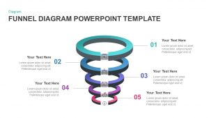 5 Step Ring Diagram Funnel PowerPoint Template & Keynote