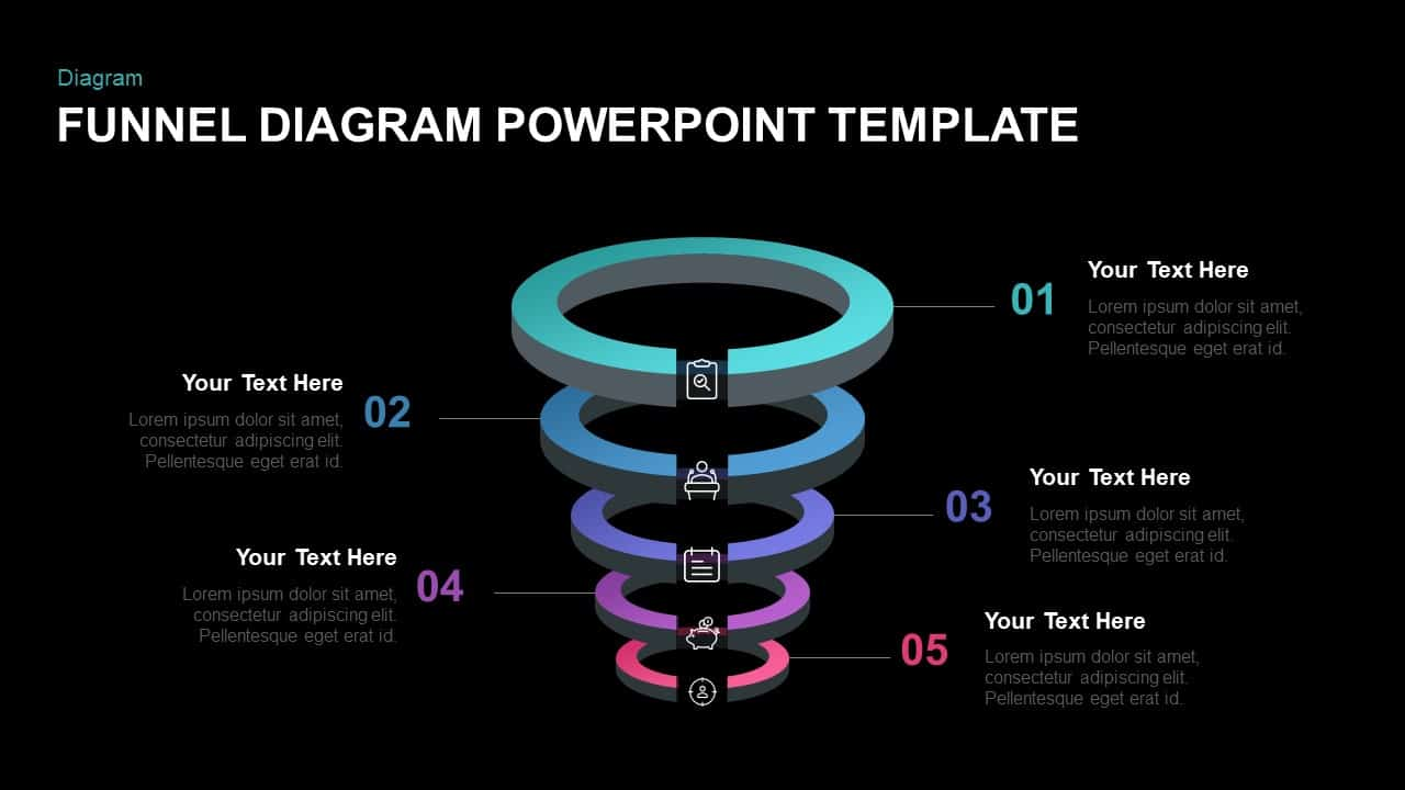5 Step Ring Diagram Funnel Template for PowerPoint