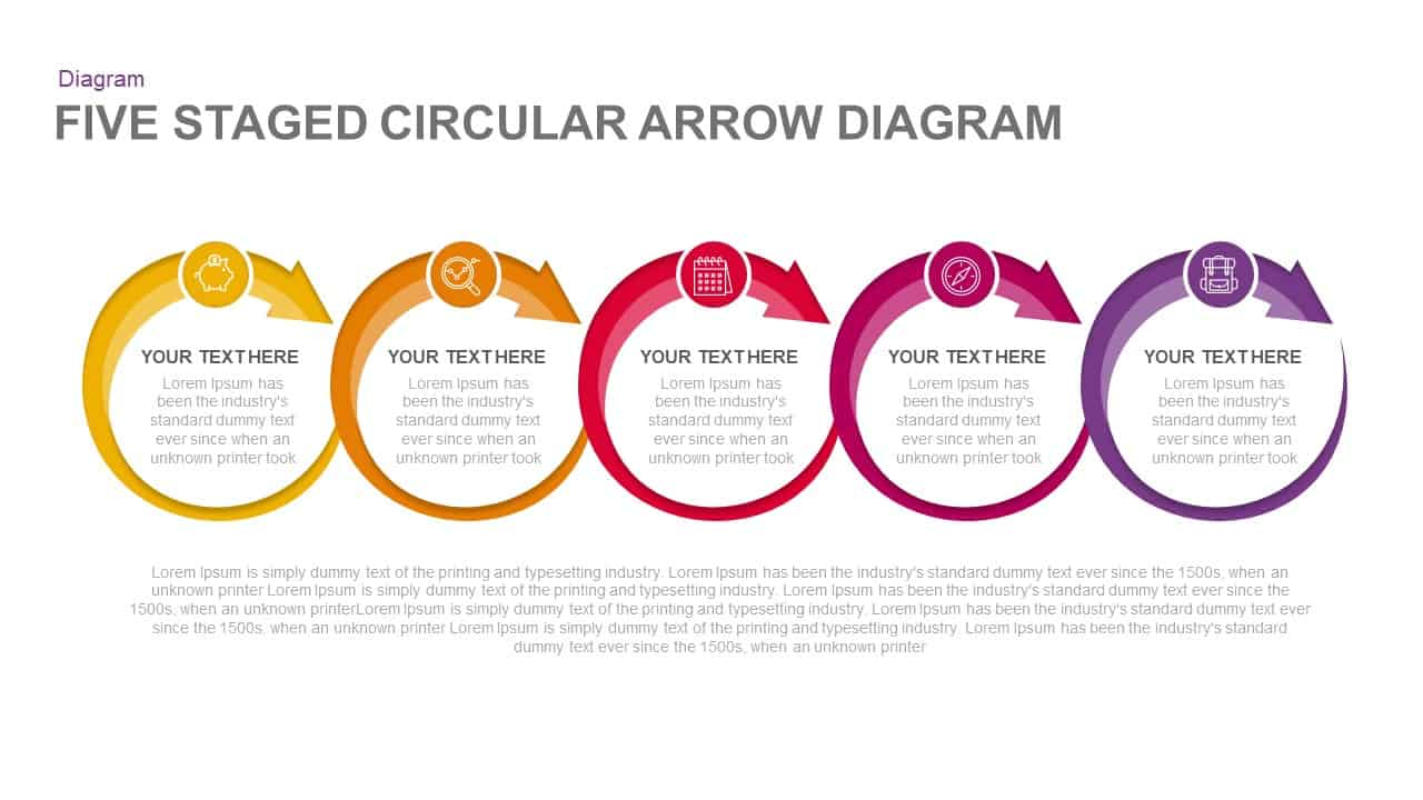 5 Steps Circular Arrow Diagram PowerPoint Template