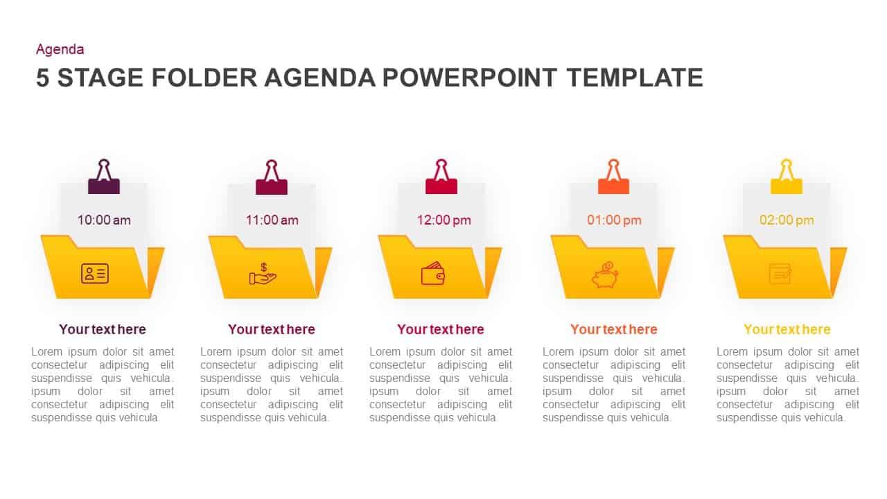 5 step folder agenda powerpoint template