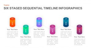 6 Step Sequential Timeline Template for PowerPoint & keynote