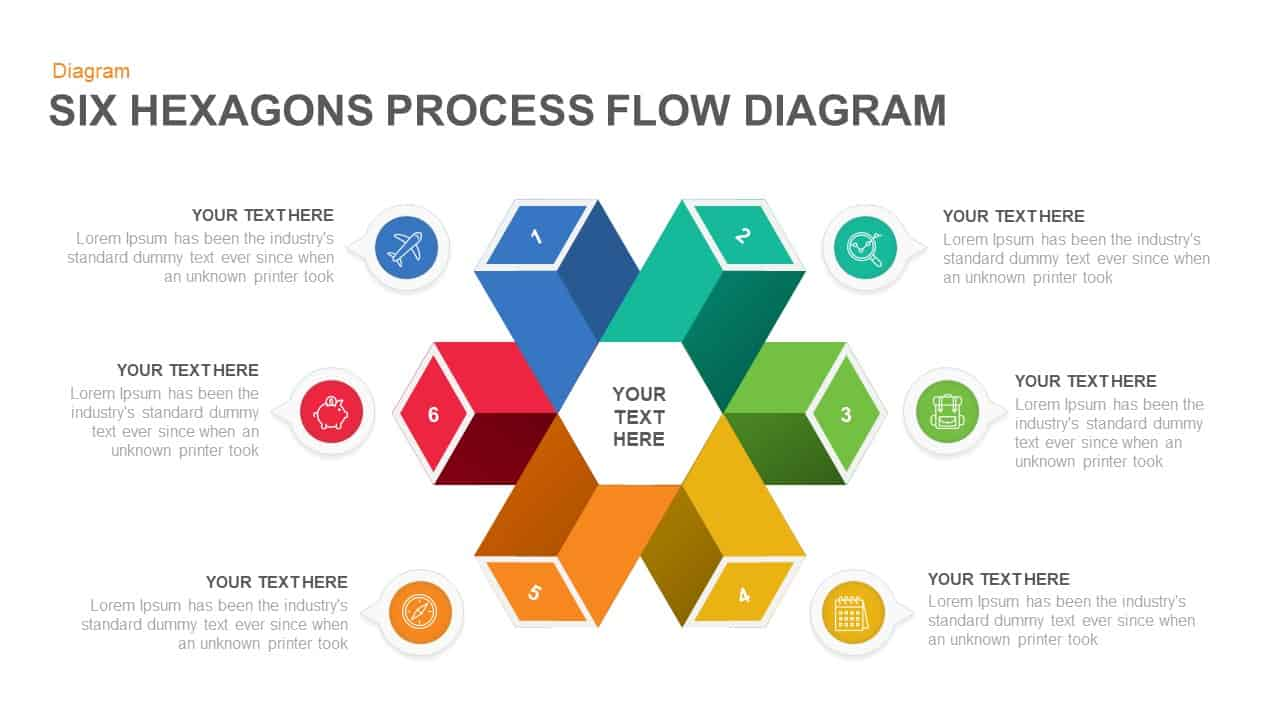 6 Step Process Flow Hexagon Diagram For Powerpoint Keynote
