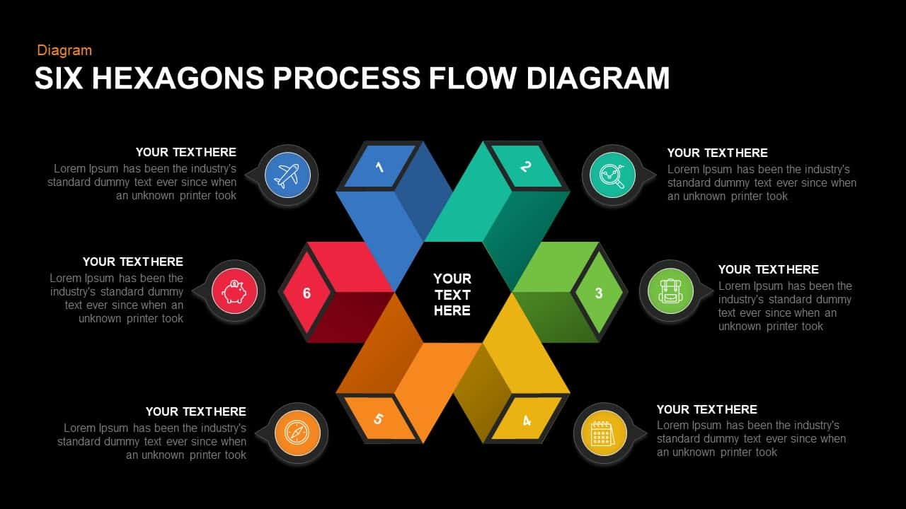 6 Step Process Flow Hexagon Diagram Template for PowerPoint