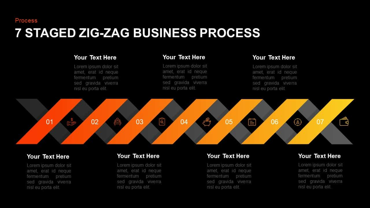 7 Step Zigzag Business Process PowerPoint Template