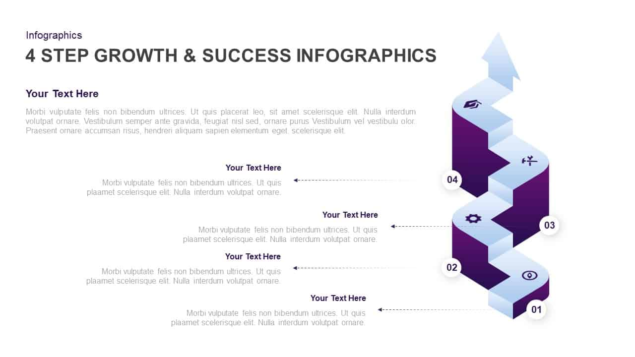 4 Step Growth and Success PowerPoint Template