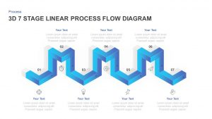 7 Stages Linear 3D Process Flow Diagram for PowerPoint & Keynote