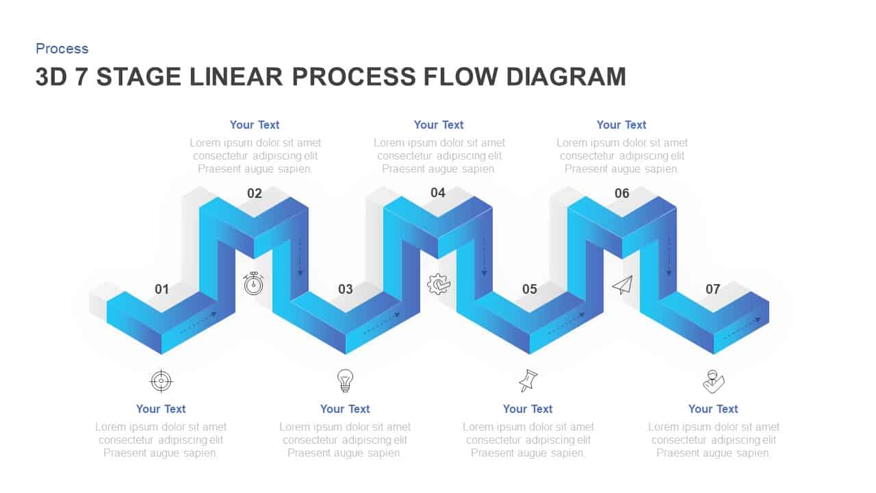 linear 3d process flow diagram for PowerPoint
