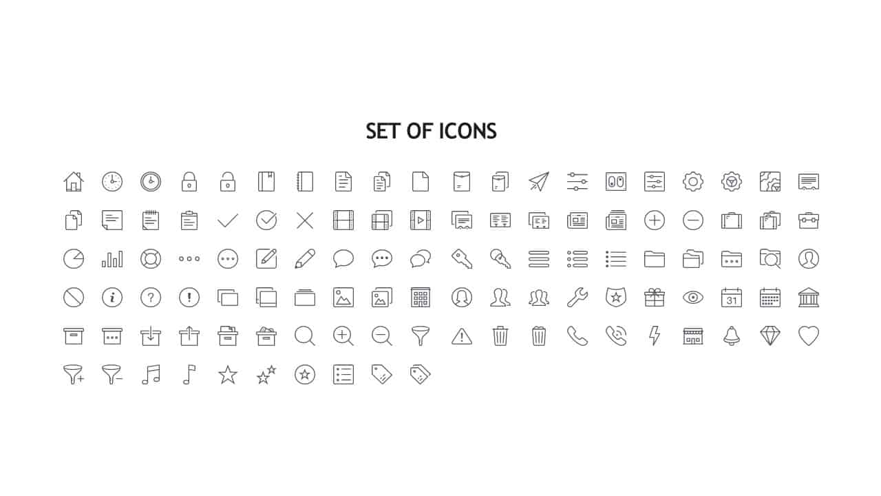Icons for Calendar PowerPoint Template 2019
