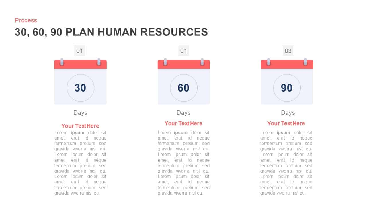 30, 60, 90 Day Plan Human Resources PowerPoint Diagram
