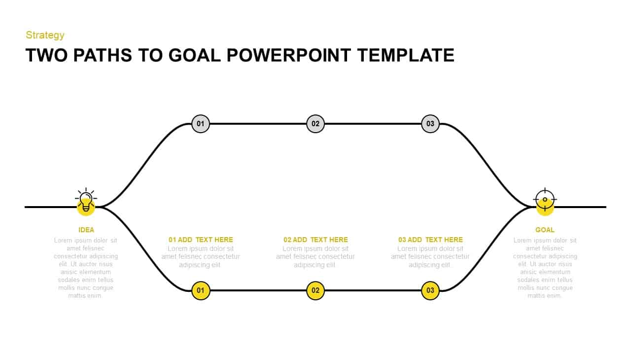 Two Paths to Goal Achievement PowerPoint Template