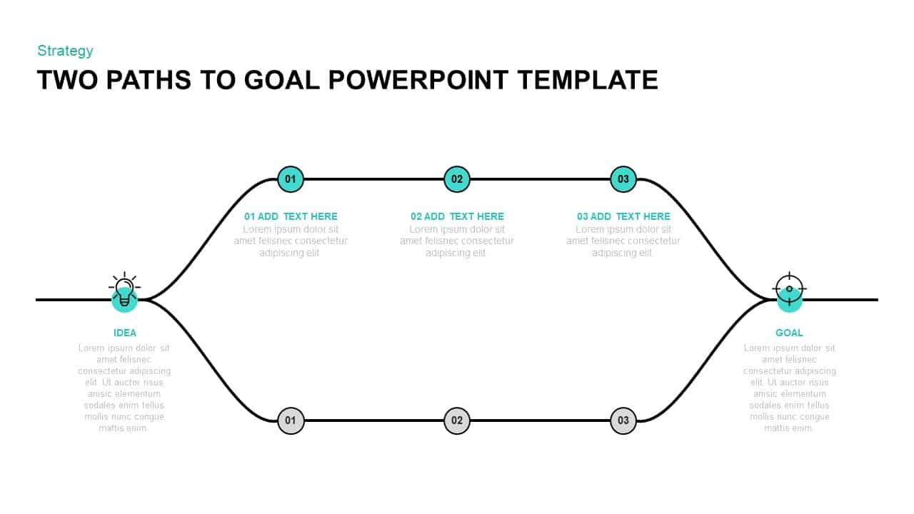 Two Paths to Goal Template for PowerPoint
