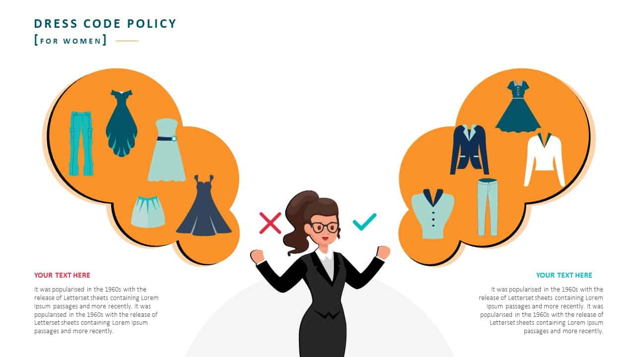 Employee Handbook PowerPoint Template Slide 13 Dress Code Policy Women