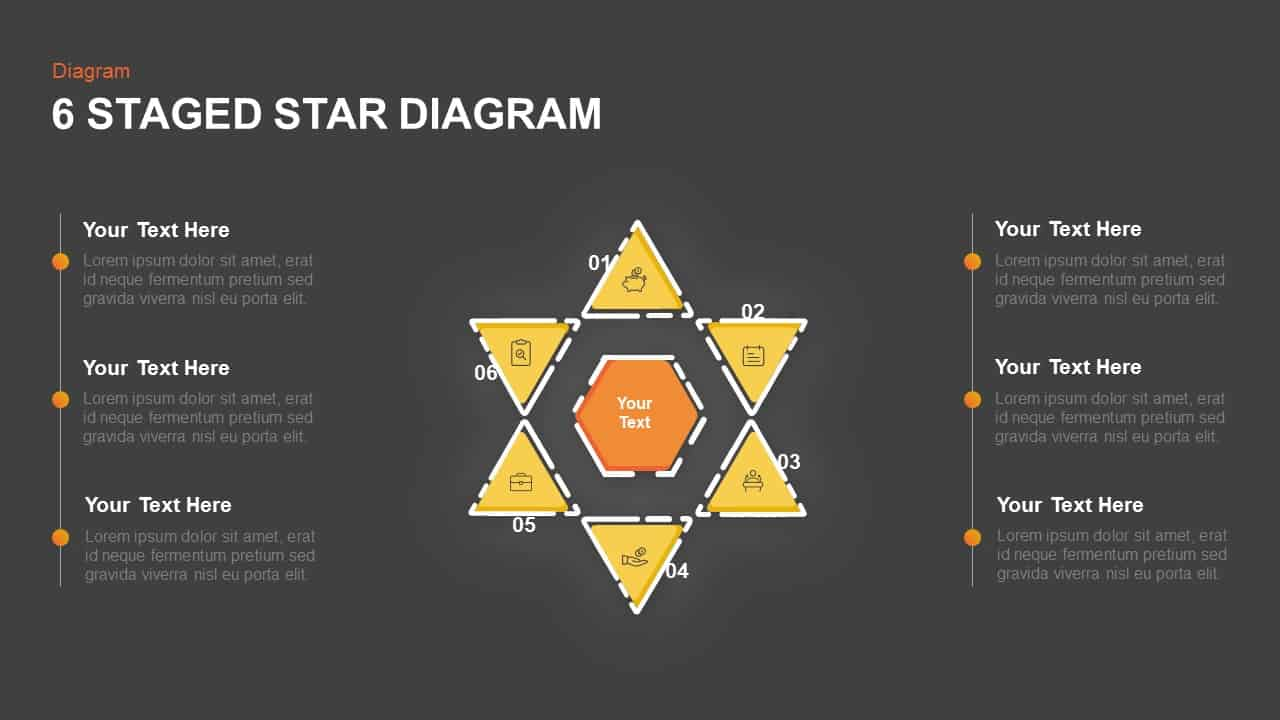 Star Diagram Business Target And Analysis PowerPoint Template