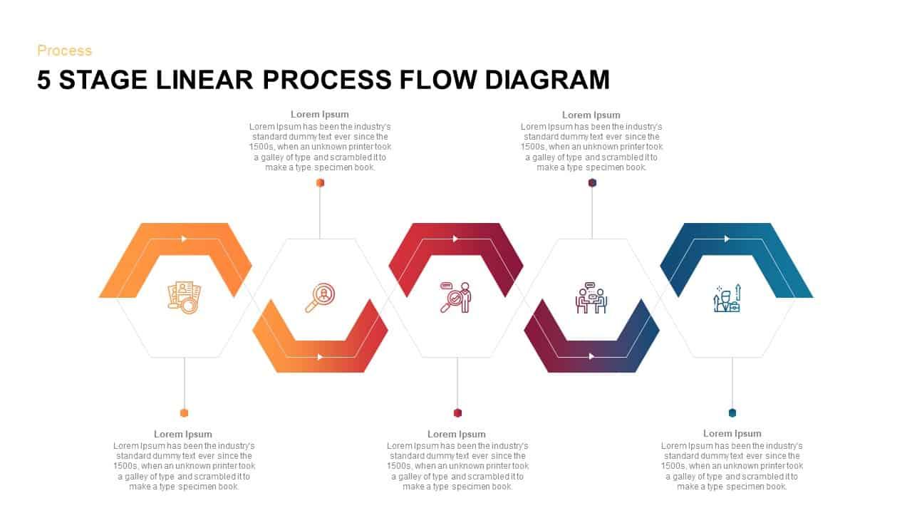 Download 5 Steps Linear Process Flow Diagram