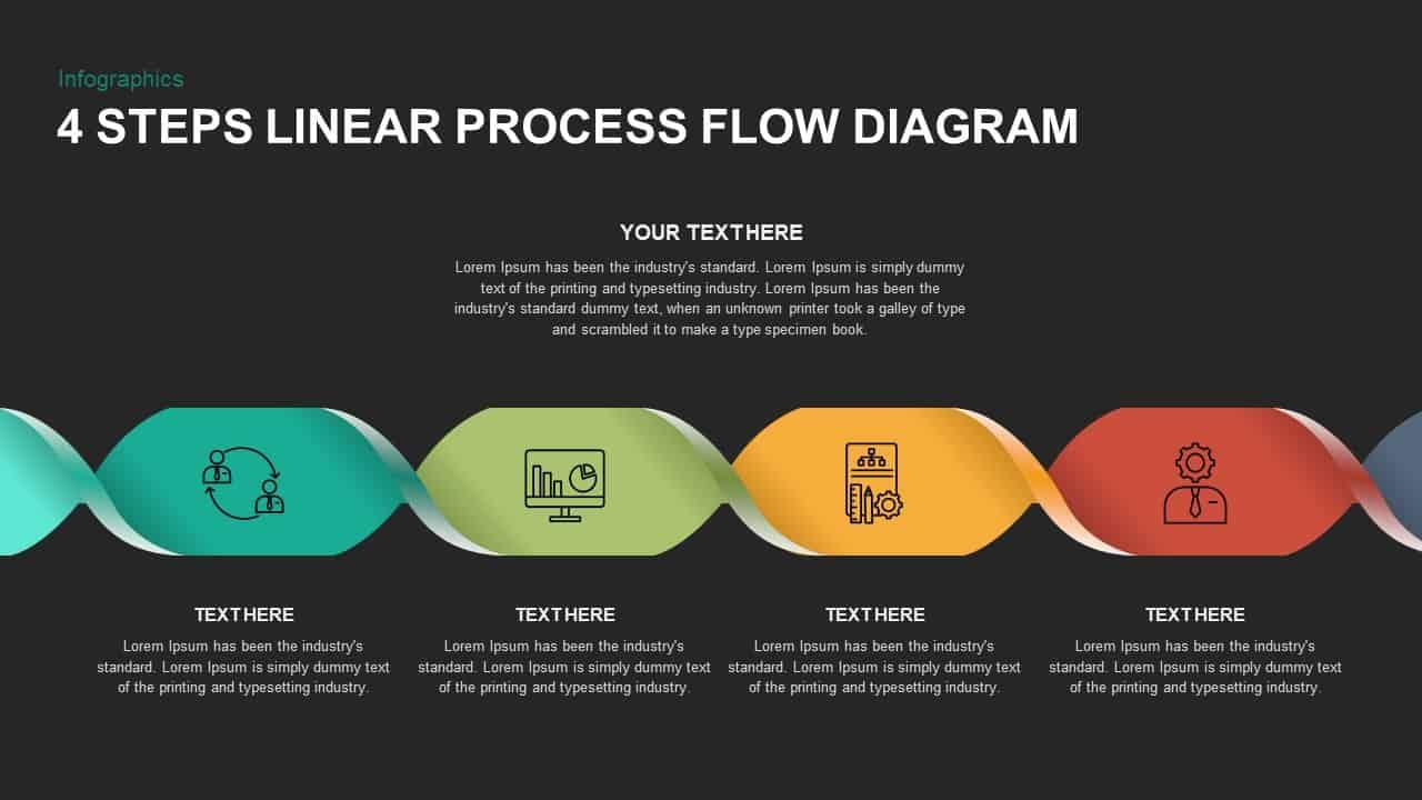 4 Steps Linear Process Flow Diagram PowerPoint Template