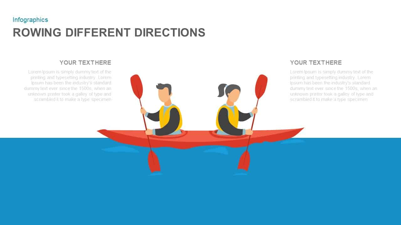 Rowing Different Directions Illustration Template for PowerPoint Presentation