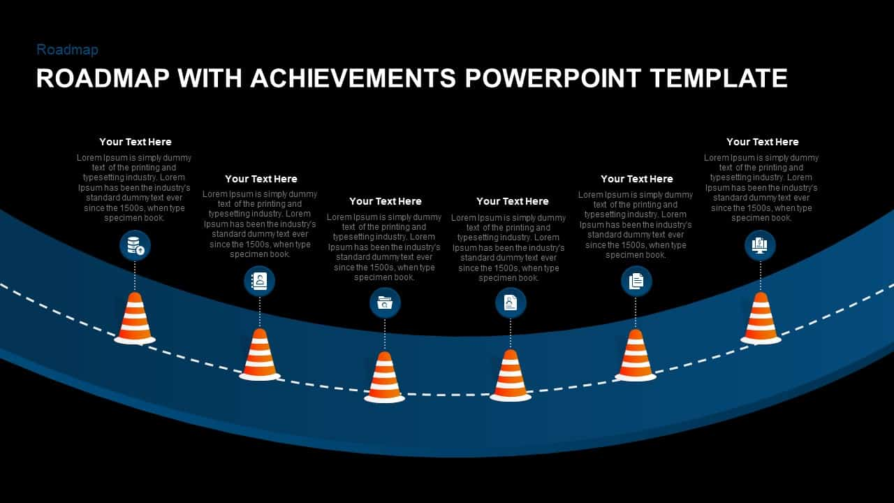 Road Map With Achievement PowerPoint Layout