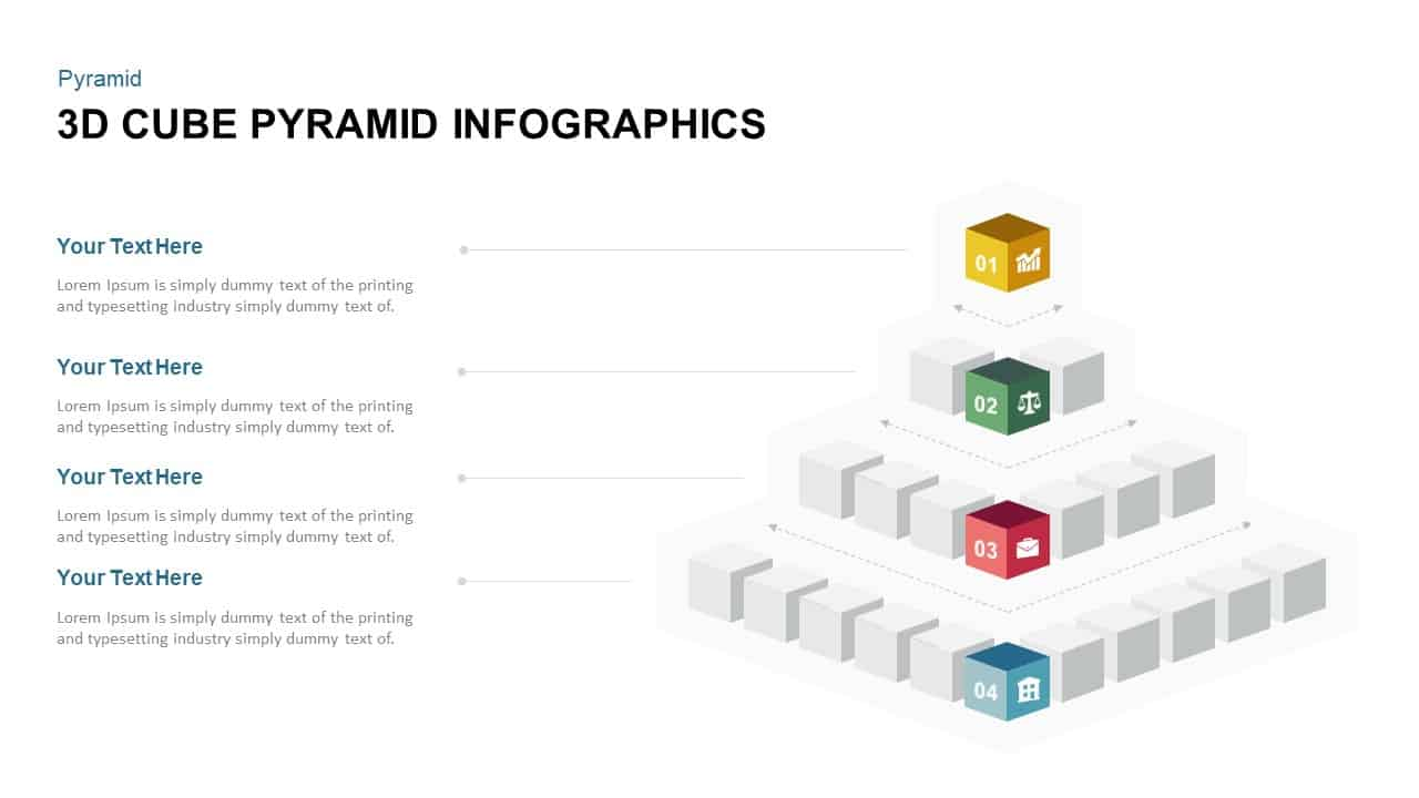 3d pyramid powerpoint template with cubes