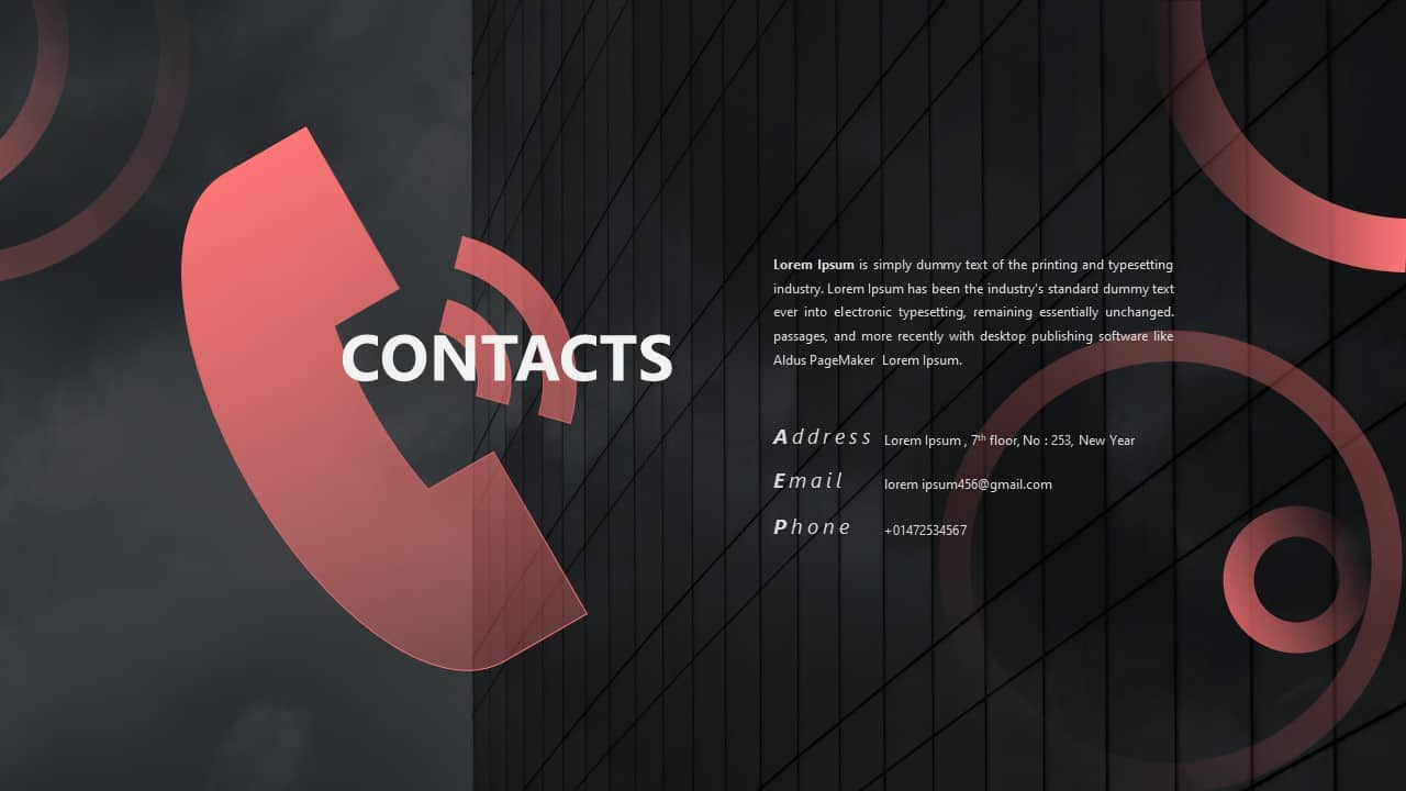 CV PowerPoint Template Contacts