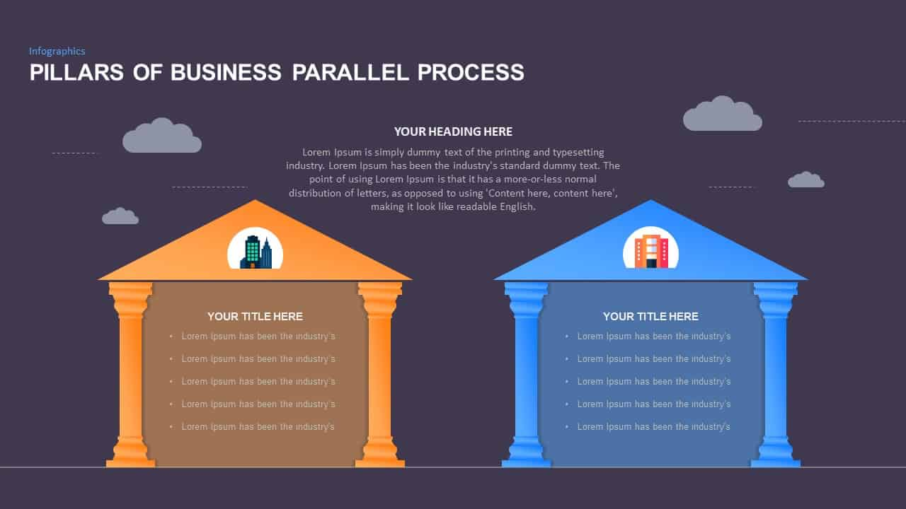 Ppt Slide Pillars For Business Parallel Process Diagrams